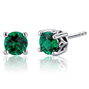 Scroll Design 1.50 Carats Simulated Emerald Round Cut Stud Earrings in Sterling Silver Rhodium Nickel Finish by Peora