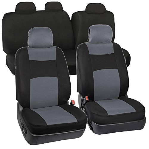 Full Set Black & Gray Seat Covers for Car Auto SUV Polyester Cloth - 60/40 Split Rear Bench (2006 Chevy Truck Seat Covers compare prices)
