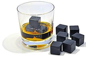 Whiskey Rox Black Whiskey Stones (Set of 9) - Natural Polished Black Granite - Reusable Scotch Rocks - Premium Whiskey Chilling Stones - Comes in Handsome Gift Box - BONUS: Black Velvet Carrying Pouch
