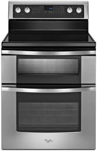"""Whirlpool WGE555S0BS 30"""" Freestanding Electric Double Oven Range with 5 Radiant Elements, 6.7 cu. ft. Oven Capacity, Rapid Prehe"""