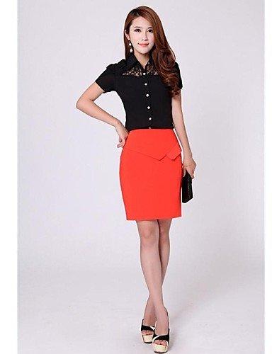 ZXR-femmes-de-dentelle-noirblanc-pour-femme-col-chemise--manches-courtes-en-dentellepliss