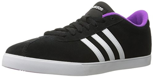 Adidas Performance Women's Courtset W Fashion Sneaker, Black/White/Shock Purple Fabric, 7 M US