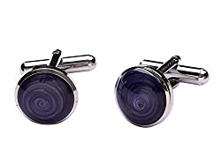 TRIPIN ROUND BLUE AND SILVER CUFFLINKS FOR MEN IN A GIFT BOX