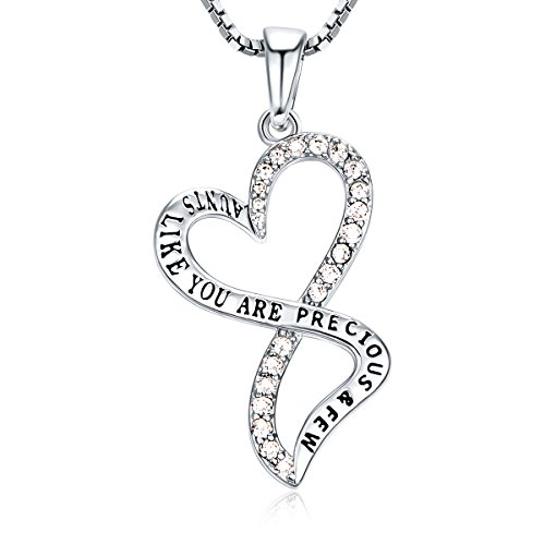 AUNT Infinity Necklace CZ Rhodium Plating Love Heart Fashion Jewelry, BFF Anniversary Gift for Women, 18