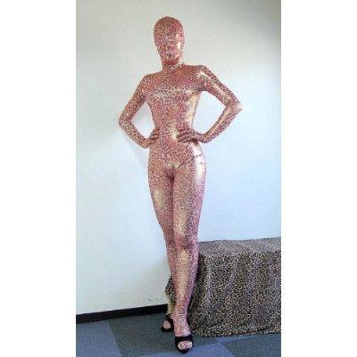 光る豹柄 目・口と股間部開閉自由の全身タイツ 180cm100kg  ピンク色