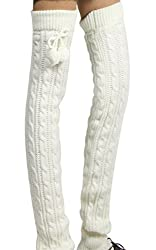 MERSUII Soft Long over Knee High Leg Thick Autumn Winter Knit Crochet Hosiery Socks Leg Warmer,white