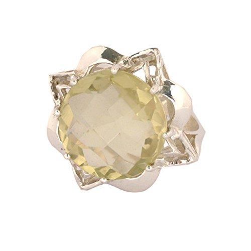 925 Sterling Silver Females Ring Jewellery Lemon Topaz Gemstone (multicolor)
