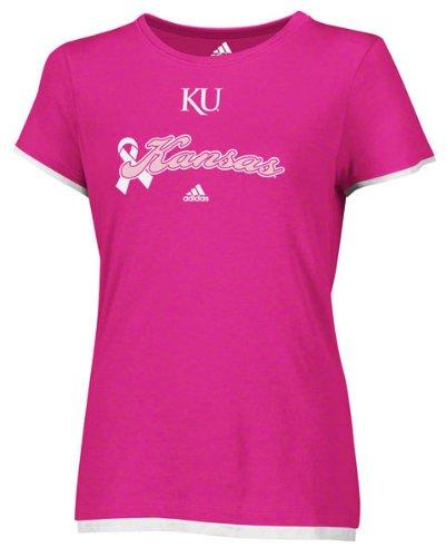 Kansas Jayhawks Women's adidas Pink Ribbon Script Breast Cancer Awareness T-Shirt