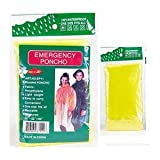4 PACK EMERGENCY GOTTA HAVE IT! HOODED RAIN PONCHO -YELLOW