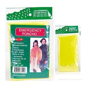 4 Pack Emergency Gotta Have It! Hooded Rain Ponchoyellow