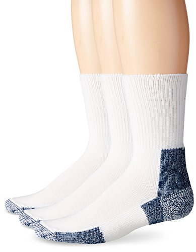 Thorlos  Mens  Running Thick Padded Crew Socks   XJ(3 Pack),White/Navy,Large(13)