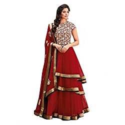 Cozer Creartion Red Anarkali Georgette Embroidered Salwar Suit Dress Material
