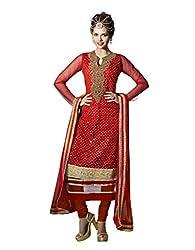 Nirali Women's Net Unstitched Dress Material (NRJMR NO 1501_Red)