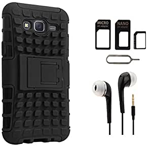 Tidel Hybrid Military Grade Armor Kick Stand Back Cover Case for Samsung Galaxy Grand 2 (Black) With 3.5mm Earphone & Micro/Nano SIM Adapter