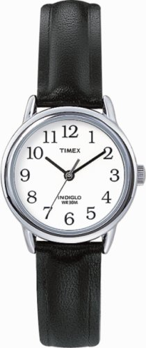 Timex White Dial and Black Leather Strap Ladies Watch - T20441PF
