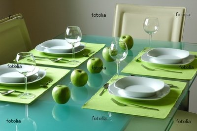 "Wallmonkeys Peel and Stick Wall Graphic - Modern Fancy Table Setting for Four - 24""W x 16""H"