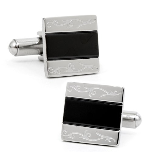 Ox And Bull Mens Stainless Steel And Black Resin Cufflinks