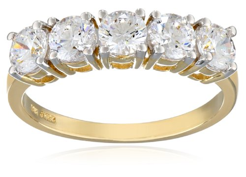 10k Yellow Gold 5-Stone Round Ring Made with Swarovski Zirconia (1 cttw), Size 8