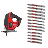 CRAFTSMAN V20 Cordless Jig Saw, Tool Only with Jigsaw Blades, T-Shank Set, 13-Piece (CMCS600B & CMAJ1SET13)
