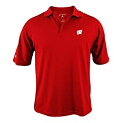 Wisconsin Badgers Antigua Mens Red Pique Xtra-Lite Polo Shirt by Antigua