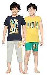 Punkster Multi-Colour Cotton T-shirt And Bottom Combo Set For Boys