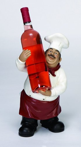 Benzara Polystone Chef Bottle Holder a Designer Class Wine Holder