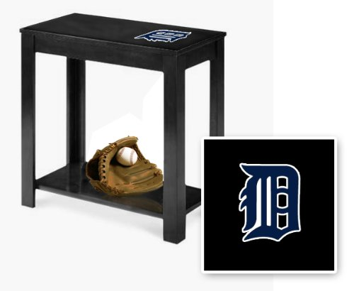 New Black Finish End Table Featuring Detroit Tigers Mlb Team Logo!