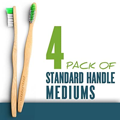 Woo Bamboo STANDARD Toothbrush With MEDIUM Bristles - Family FOUR PACK