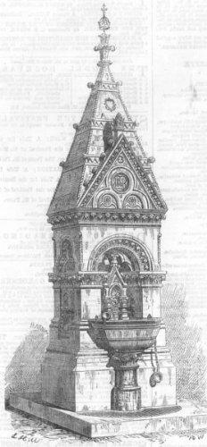 London: Drinking-Fountain, Battersea Park, Antique Print, 1867