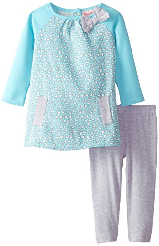 887847666992 - Nannette Baby Girls' 2 Piece Fleece Legging Set with Mock Welt Pockets, Blue, 12 Months carousel main 0