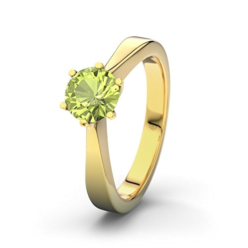21DIAMONDS Alaska Peridot Round Brilliant Cut Engagement Ring, 9ct Yellow Gold Ladies Engagement Ring