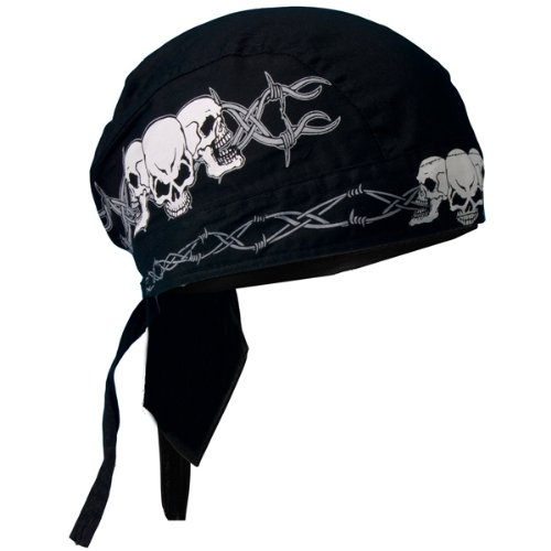 Hot Leathers Barbed Wire Skulls Head Wrap (Black)