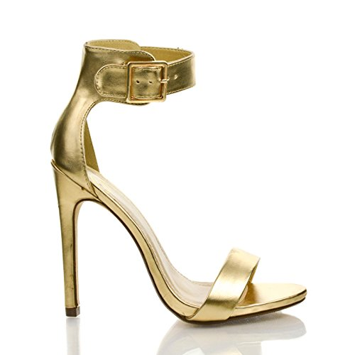 Women High Stiletto Heel Dress Sandal With Ankle Straps. (6 M Us, Gold Pu) front-67233