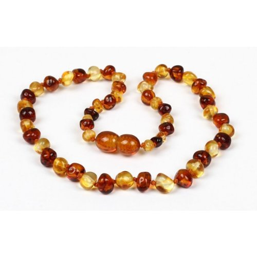 *Safety Clasp & Safety Knotted* Bouncy Baby Boutique(Tm) - Certified Authentic Baltic Amber Teething Necklace - Nn13 Honey & Lemon front-1036074