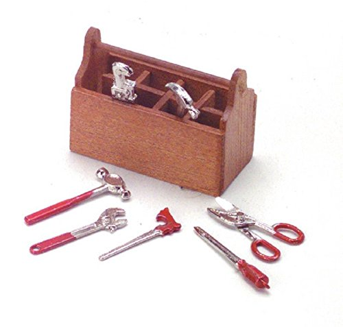 Dollhouse Miniature Tool Box with Tools - 1