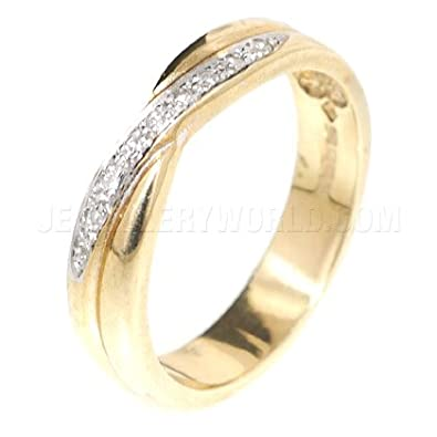 Diamond 9ct Gold Crossover Half Eternity Ring