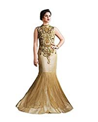 Beige Net Embroidered Dress Material with lacework
