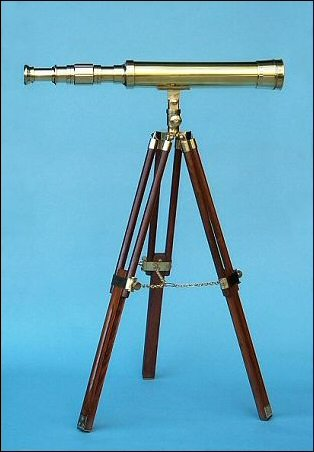 19-Inch Polished Brass Nautical Desktop/Tabletop Telescope On Hardwood Tripod