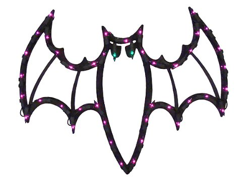 """18"""" Lighted Halloween Spooky Bat For Window or Yard Silhouette Decoration"""