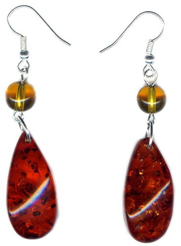 Cognac Amber Earrings on 925 sterling silver hooks