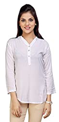 Carrel Brand Imported Cotton Fabric Solid 3/4 Sleeve Top with Button white Colour Women L Size.