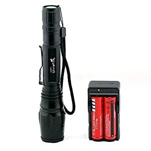 Ultra Bright CREE 1600LM Lumen Adjustable LED Aluminum alloy Flashlight Torch + Charger + 2 x 18650 Battery, 5 Mode (Generic Packaging)