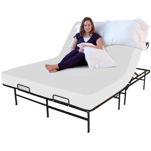 sleep master adjustable platform metal bed frame mattress foundation twin x large queen size bed. Black Bedroom Furniture Sets. Home Design Ideas
