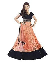 Dharmnandan Fashion Orange Gorgette& Crap Dress material
