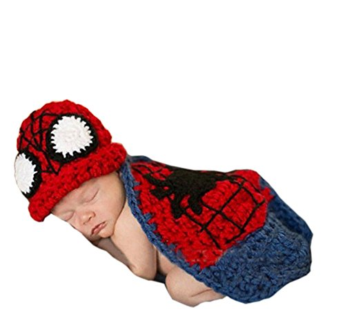 Pinbo Newborn Baby Photography Prop Crochet Knitted Spider-man Hat Cover