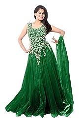 Pure Fashion Women's Net Unstitched Dress (Green)