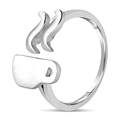 Coffee Lover Gift - Simple & Unique 925 Sterling Silver Coffee Ring Jewelry for Women