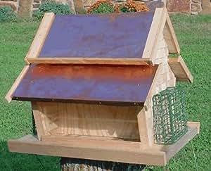 Dual Bin Hopper Feeder w/Copper Roof and suet Feeders