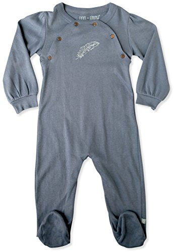 Finn + Emma | Footie | Baby Girl | Flintstone Blue | 100% Organic Cotton | 3-6m