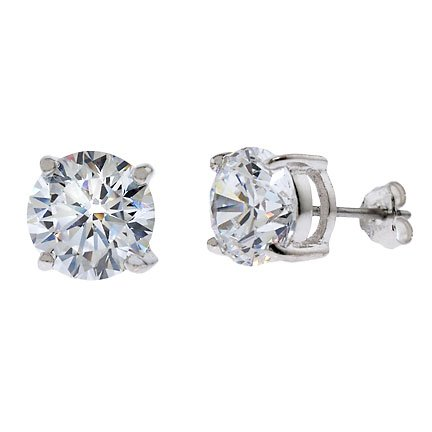 Jeda's 925 Sterling Silver Stud Earrings 6 Carat Round Cut Cubic Zirconia Basket Setting - Incl. ClassicDiamondHouse Free Gift Box & Cleaning Cloth